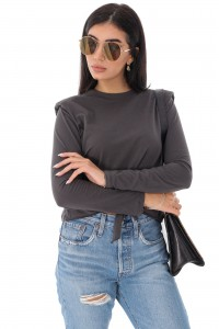 Ladies on trend casual top - AIMELIA - with padded shoulders, DK Brown, BR2357
