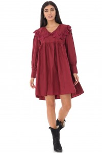 Ladies baby doll style tunic dress - AIMELIA - with lace trim, wine, DR4232