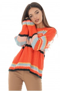 Aimelia Multicolour stripe soft cable knit jumper - BR2162