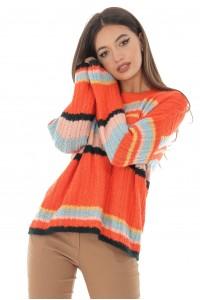 Aimelia Multicolour stripe soft cable knit jumper - BR2162