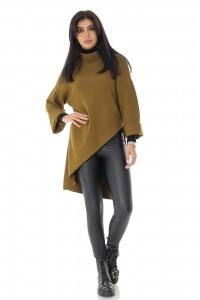Ladies oversized Polo neck - AIMELIA - Khaki, BR2367