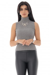 Ladies sleeveless ribbed polo neck - Aimelia - Grey, BR2368