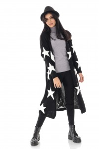Ladies On Trend star cardigan, Black - AIMELIA - BR2373