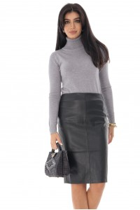 Ladies Faux lined leather pencil skirt - Aimelia - Black - FR491