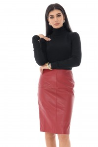 Ladies Faux  leather pencil skirt - Aimelia - Red - FR492