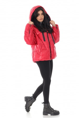 Short Red quilted puffer jacket, Aimelia - JR524