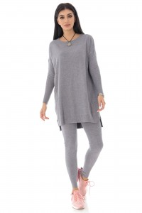 Ladies Soft two-piece lounge suit, Grey - AIMELIA - TR420