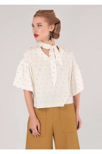 Cream and gold short sleeves top Aimelia - BR2083