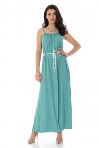 BUTTON FRONT MAXI DRESS IN TURQ - AIMELIA - DR4155