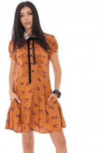 Cute fox printed viscose tea dress - AIMELIA - DR4209