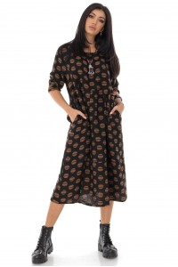 Oversize woven spot midi dress - Brown - AIMELIA - DR4212