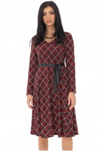 Geometrically printed A-Line Dress - Wine - AIMELIA - DR4219
