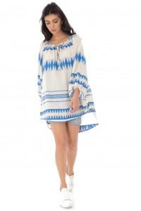 Oversized Boho style blouse - Blue - AIMELIA - BR2307