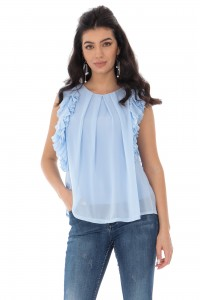 Frill sleeve blouse - Light blue - Aimelia - BR2312