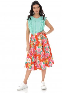Floral printed full skirt - Orange - AIMELIA - FR482
