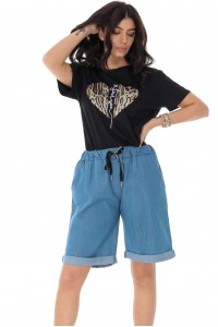 Loose fitting soft denim shorts with turn up hem - Light Denim - AIMELIA - TR395