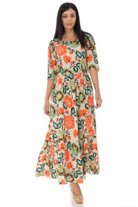 ORANGE GATHERED PUFF SLEEVE MIDI DRESS - AIMELIA - DR4161