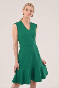 GREEN V-NECK PEPLUM DRESS - CLOSET - DR4199