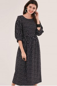NAVY GATHERED TUNIC DRESS - CLOSET - DR4202