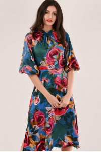 BLUE MIX PRINT A-LINE DRESS - CLOSET - DR4203