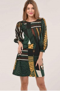 GREEN PUFF SLEEVE SHIFT DRESS - ROH - DR4225