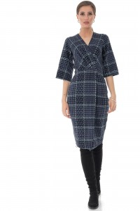 Navy check pencil dress Aimelia - DR3704