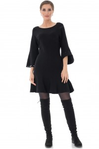 Black kintted dress with pearls Aimelia - DR3712