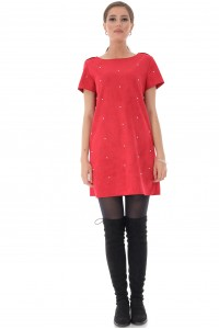 Red suede dress with pearls, Aimelia - DR3985