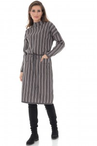 High collar dress, with two front pockets, Aimelia - DR4017