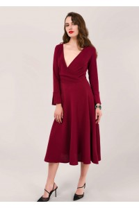 Maroon long sleeve wrap dress, Aimelia - DR4053