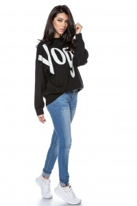 High quality knitted oversize jumper - Black - AIMELIA -BR2299