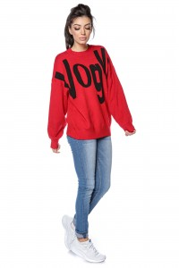 High quality knitted oversize jumper with Vogue print - RED - BR2300