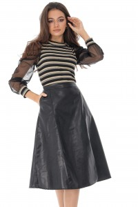 Faux leather midi skirt, Aimelia - FR464