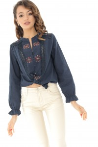 Navy casual embroideres shirt Aimelia - BR2080