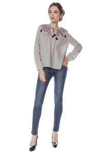 Grey embroidered long sleeves top Aimelia - BR2092
