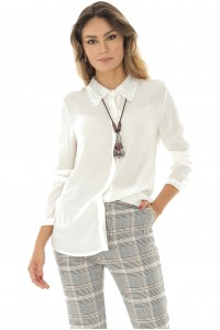 Sheer white blouse with a lace collar, Aimelia - BR2130
