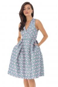 Turquoise dress, jacqard Aimelia - DR3967