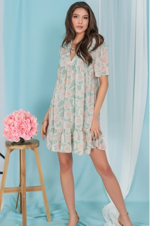 Baby doll style tunic dress, Aimelia Dr4271,in Mint and Beige.
