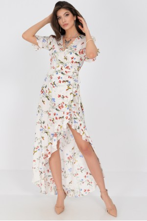 Delicately printed maxi dress, Aimelia Dr4273,in Cream , with a wrapover cut.