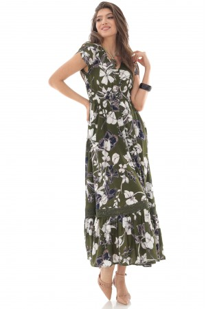 Floral printed maxi dress,Aimelia Dr4275,in khaki and cream,with a frilled hem.