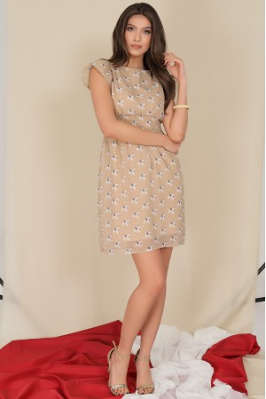 Delicate chiffon dress,Aimelia Dr4280,with puffed sleeves.