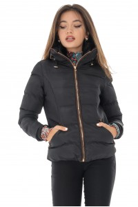 Puffa jacket, black, with high collar, Aimelia - JR460