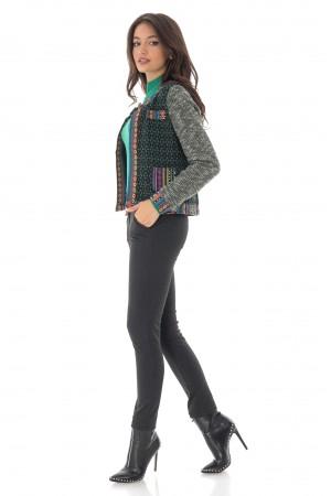 Green jacket with multicolored motifs, Aimelia - JR481