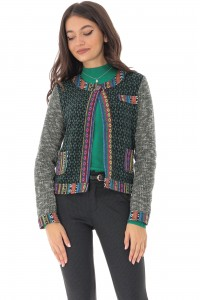 Green jacket with multicolored motifs, Aimelia - JR481