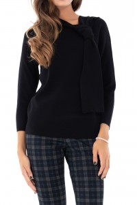 Elegant black jumper with tie neck, Aimelia - BR1924