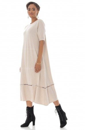 A-line Midi Dress,Aimelia Dr4325 in Beige with a crochet detail at the hemline.