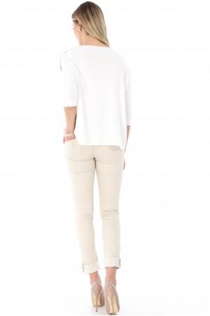 Bluza crem, ROH, cu imprimeu - BR1766
