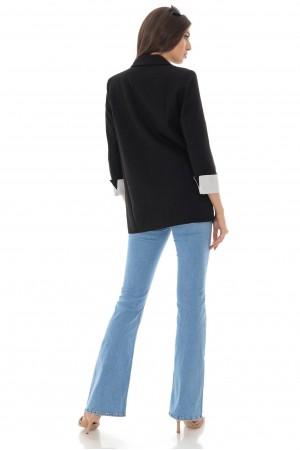 Boyfriend style jacket,Aimelia Jr539, in Black, with contrasting cuffs.