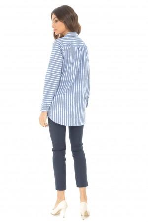 Camasa cu maneca lunga, albastra, cu dungi, ROH - BR2089