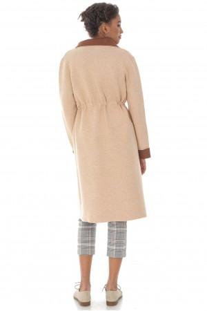 Heavy knit long cardigan,Aimelia Jr544 in Beige,with a drawstring waist.